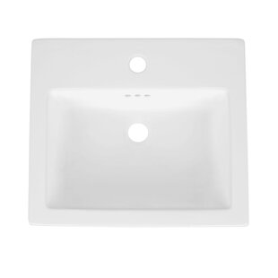 Cellar Ceramic Rectangular Drop-In Bathroom Sink with Overflow by Ronbow