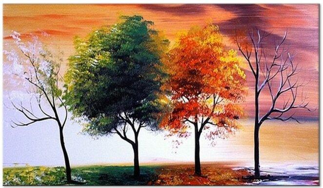latitude run four seasons nature tree painting on canvas reviews