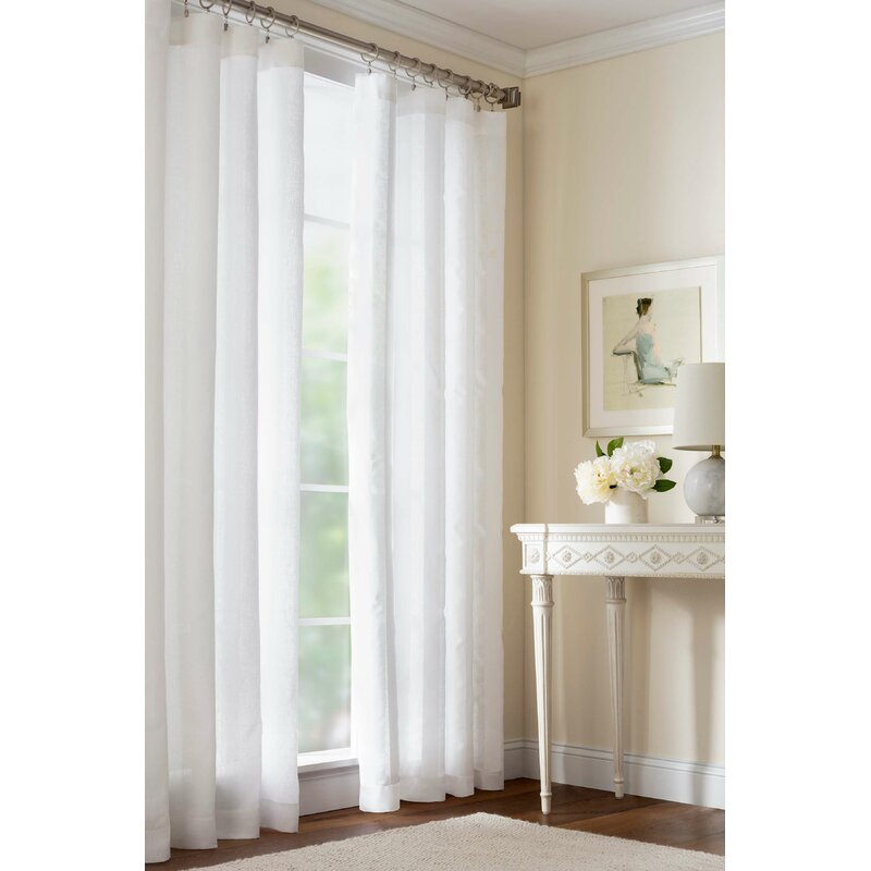 Pine Cone Hill Striped Sheer Linen Solid Semi Sheer Rod Pocket Single Curtain Panel Reviews Perigold