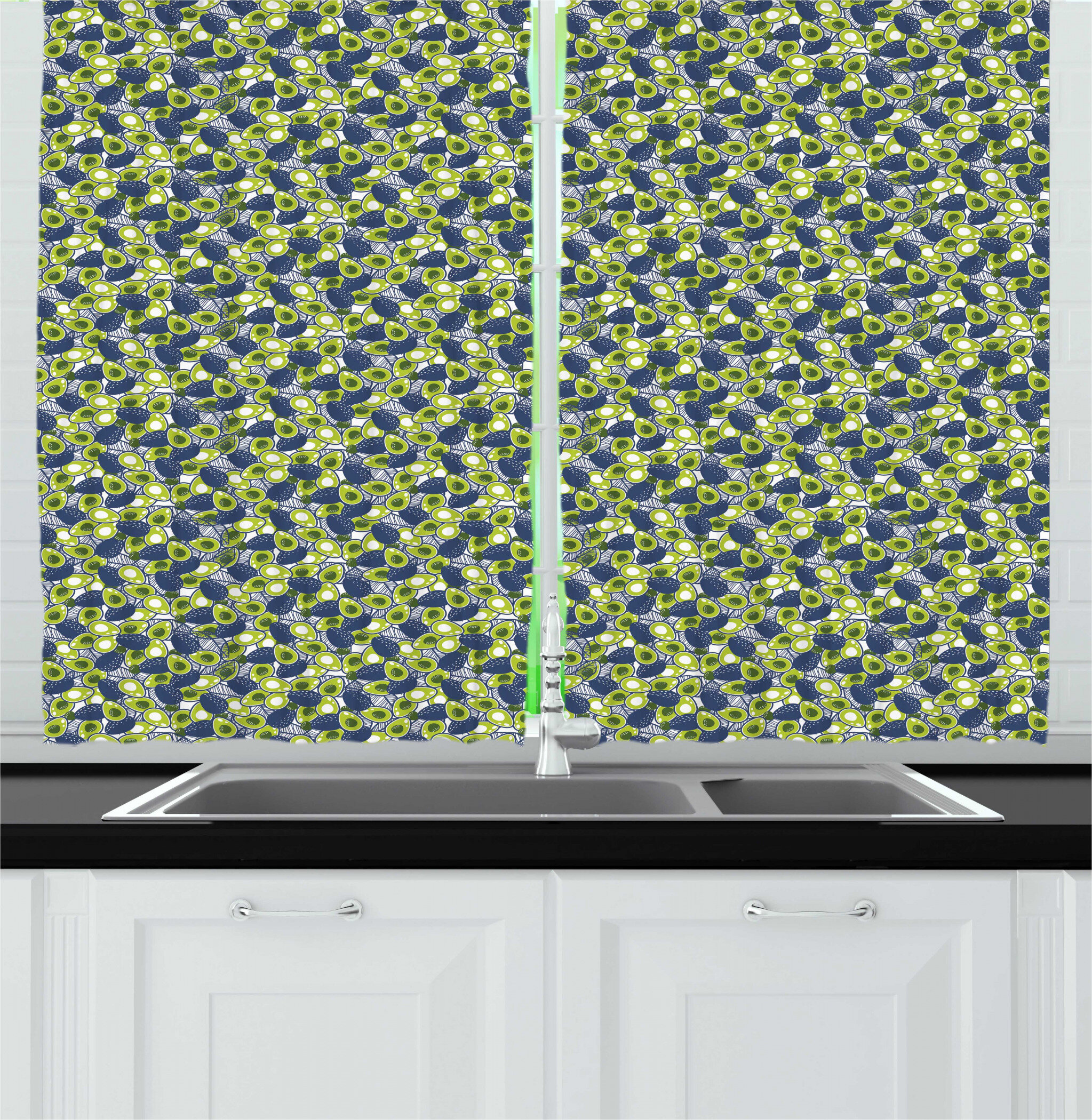 East Urban Home 2 Piece Avocado Repeating Sliced And Whole Organic Healthy Fruit Kitchen Curtain Set Wayfair