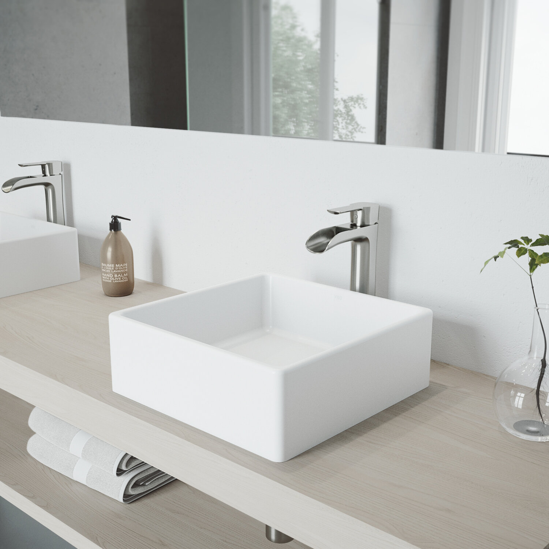Vigo Matte Stone Square Vessel Bathroom Sink With Faucet Reviews Wayfair