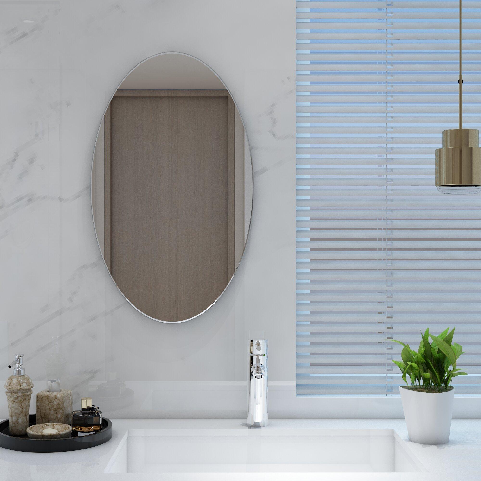 Ebern Designs Akhtari Frameless Wall Bathroom Vanity Mirror Reviews Wayfair