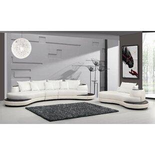 Dongola Leather 158 Symmetrical Sectional by Orren Ellis