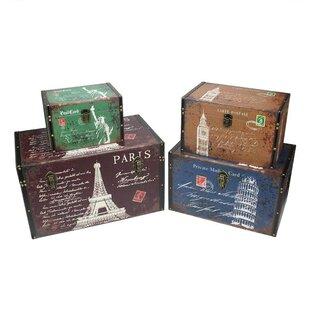 4 Piece Vintage Travel Themed Decorative Wooden Storage Box Set