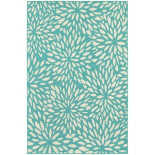 Kailani Contemporary Aqua blue Indoor/Outdoor Area Rug