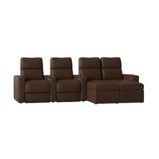 Modern Upholstered Leather Home Theater Configurable Seating (Row of 4) by Red Barrel Studio