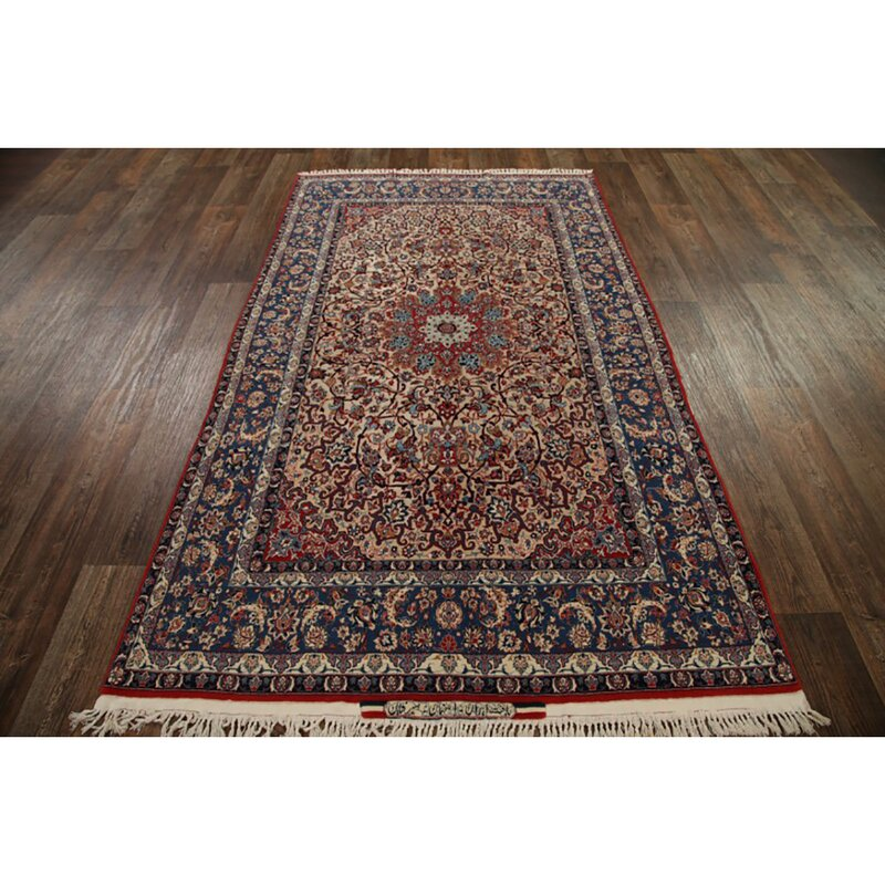 Isabelline One Of A Kind Gilley Hand Knotted Dark Blue 4 10 X 8 1 Silk Area Rug Wayfair Ca