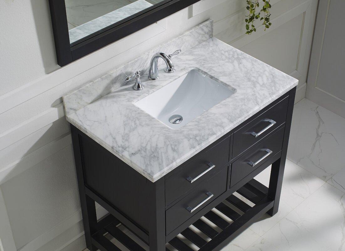 37 inch bathroom vanity. Rishaan 37  Single Bathroom Vanity Set with White Marble Top and Mirror Carrera Wayfair