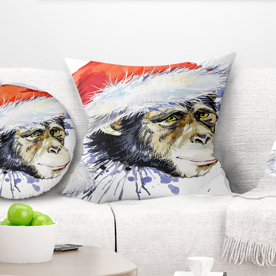 East Urban Home Animal Monkey Santa Clause Pillow Wayfair