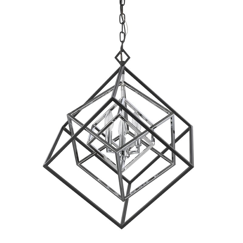Brayden Studio Pederson 3 Light Geometric Chandelier Reviews