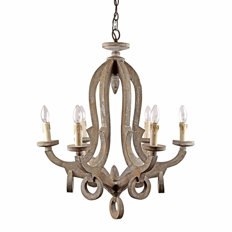 Rustically elegant wood chandelier for a European country, French farmhouse style interior. Avelina Wooden 6-Light Candle-Style #countrydecor #Chandelier