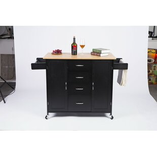 Ailani Kitchen Cart with Bamboo Top Winston Porter