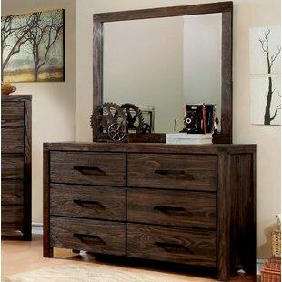 Loon Peak Blackburn 6 Drawer Double Dresser with Mirror