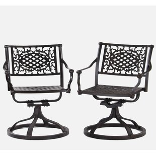 Britni Swivel Patio Dining Chair (Set of 2)