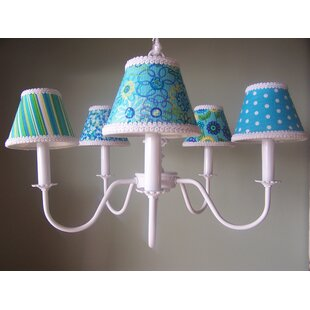 Aqua Mix and Match 5-Light Shaded Chandelier by Silly Bear Lighting