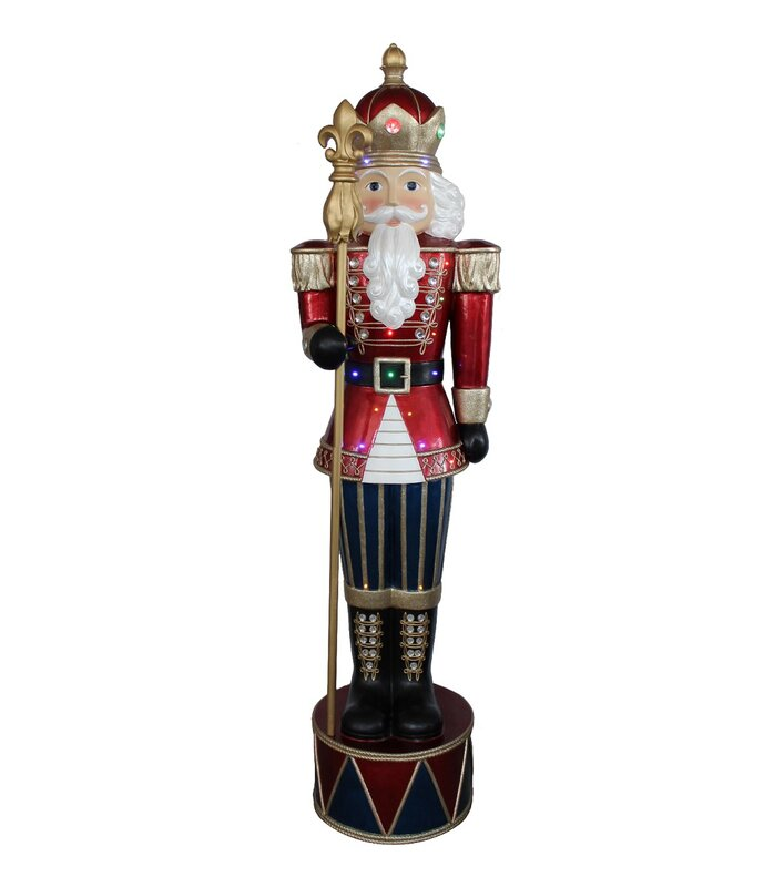 Northlight LED Lighted Commercial Grade Jeweled Nutcracker with Scepter Fiberglass Christmas Decoration | Wayfair
