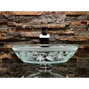 Elegant Glass Engraving Studio Flower Glass Circular Vessel Bathroom Sink