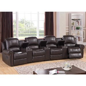 Amax Bloomington Leather 4-Seat Home Theater Recliner Image