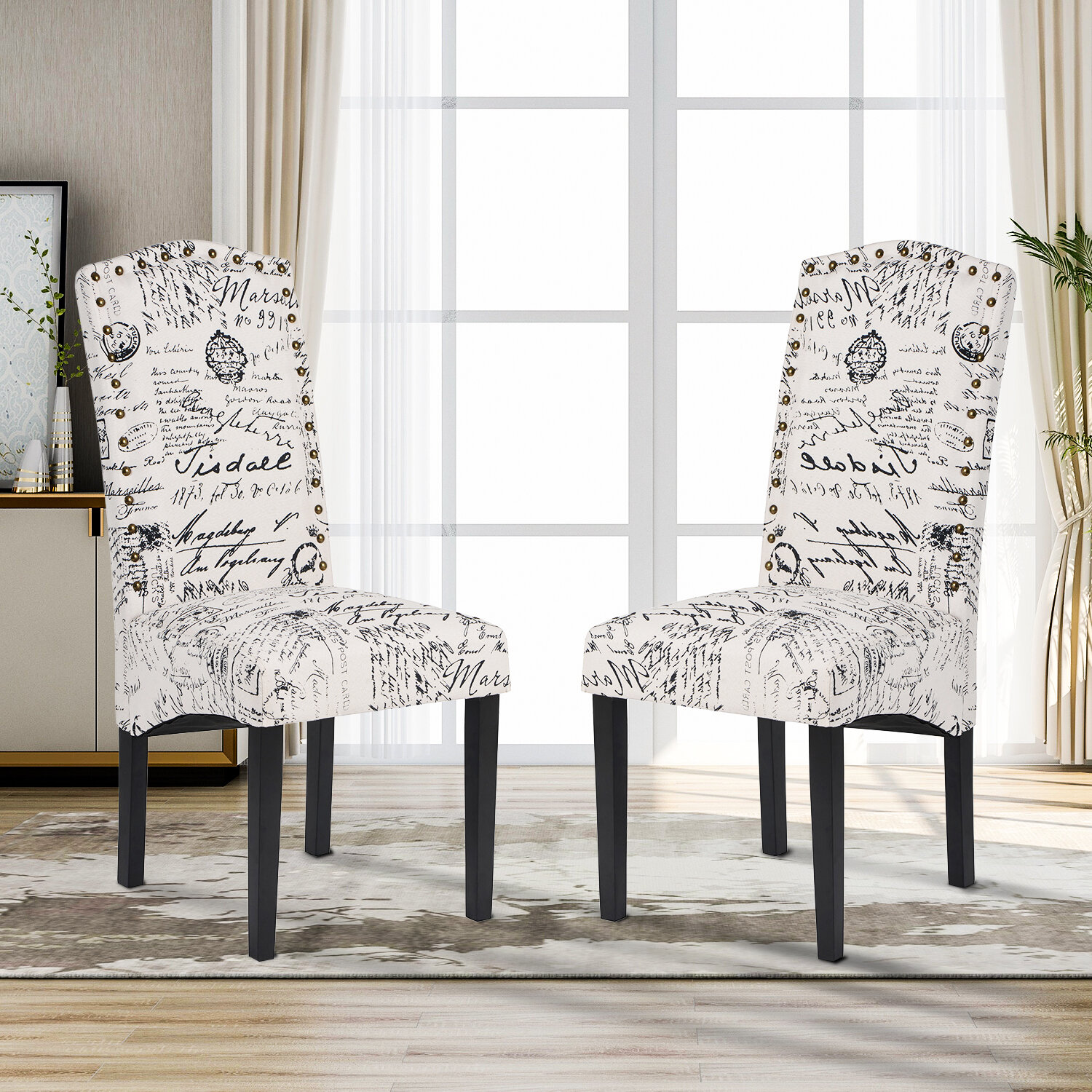 Ophelia Co Donato Linen Upholstered Stacking Parsons Chair In White Black Wayfair