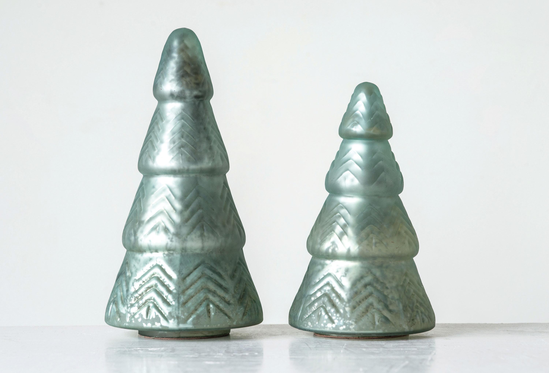 Mercury Row Mint Embossed Mercury Glass Christmas Tabletop Tree