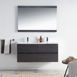 Oquendo 48 Wall-Mounted Double Bathroom Vanity Set with Mirror by Orren Ellis