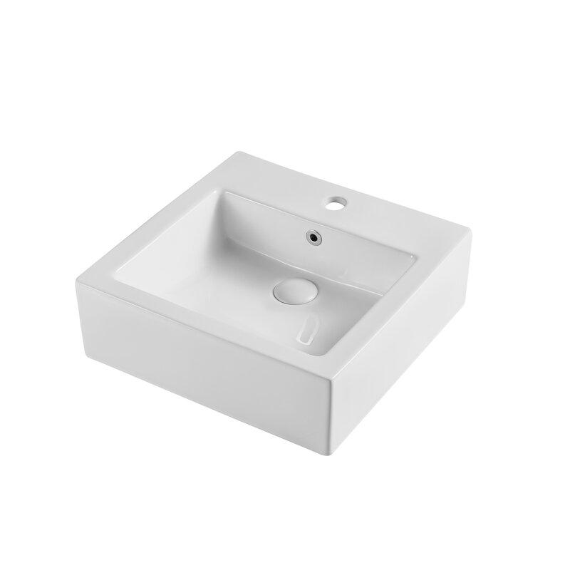 Eridanus White Ceramic Square Vessel Bathroom Sink With Overflow Wayfair