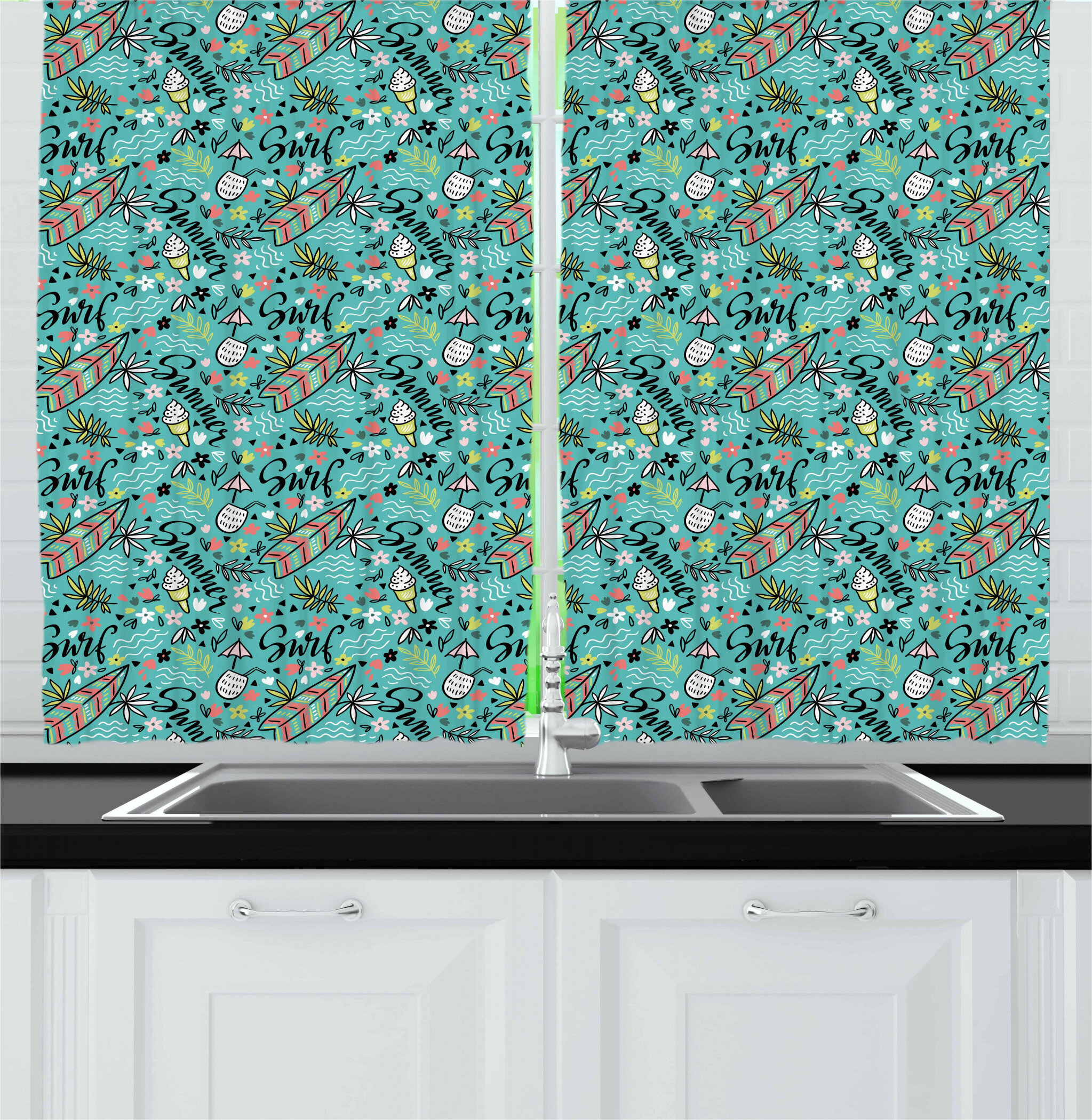 East Urban Home Surfboard Kitchen Curtain Wayfair