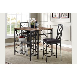 Vaughan Kitchen 3 Piece Breakfast Nook Dining Set