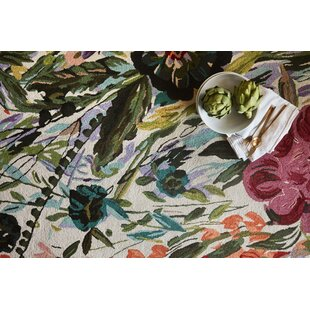 Effiom Hand-Hooked Pink/Green Area Rug by Latitude Run