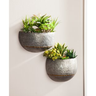 2 Piece Metal Wall Planter Set