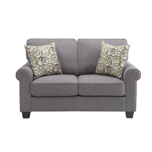 Charlton Home Isidro Polyester Upholstered Wooden Loveseat With 2 Pillows, Gray