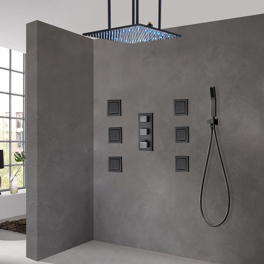 Fontanashowers Royal Rainfall Led Thermostatic Complete Shower System With Rough In Valve Wayfair