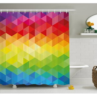 Geometrical Polygonal Diamond Forms with Triangle Mirroring Lines Artwork Shower Curtain Set