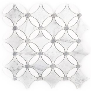 Carrara White Oval 5 x 5.25 Marble Deco Mosaic Tile