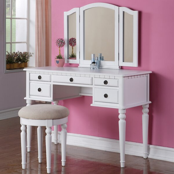 bedroom makeup vanities you ll love wayfair 14446 | goodhope vanity set with mirror