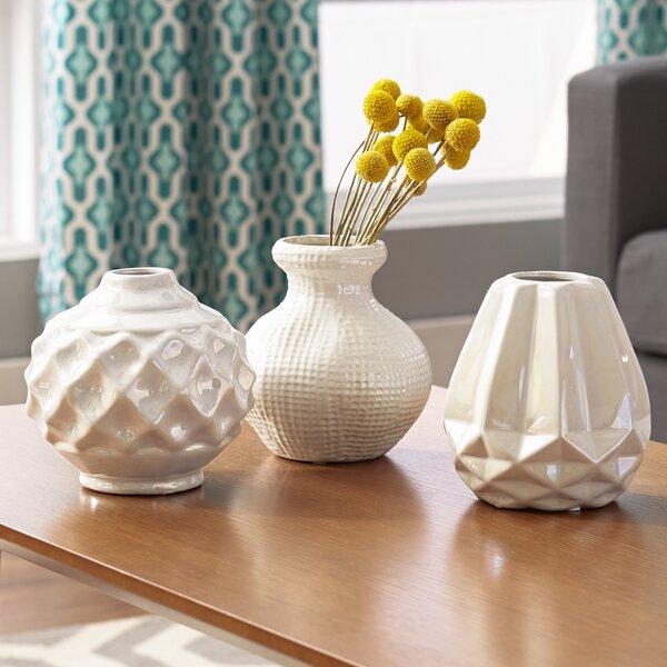 Mercury Row Thucydides 3 Piece Ceramic Vase Set Amp Reviews