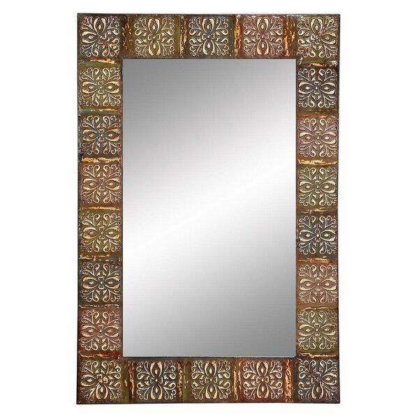 world menagerie embossed metal frame wall mirror reviews wayfair