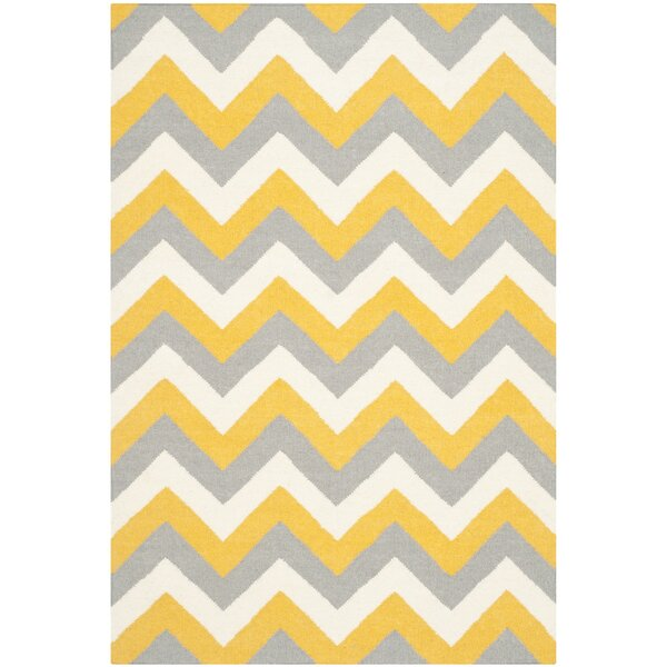 Safavieh Dhurries Gold/Grey Chevron Area Rug u0026 Reviews | Wayfair