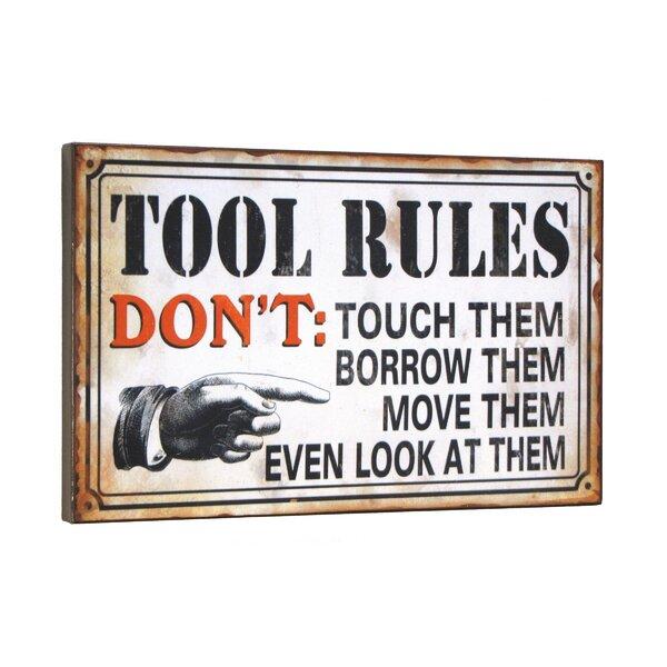 Wilco Home Quot Tool Rules Quot Textual Art Plaque Amp Reviews Wayfair