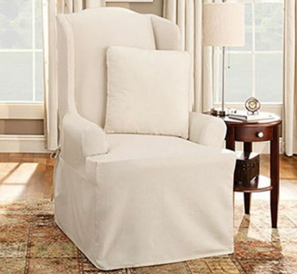 Sure Fit Cotton Duck Wing Chair T-Cushion Slipcover & Reviews | Wayfair - Sure Fit Cotton Duck Wing Chair T-Cushion Slipcover & Reviews