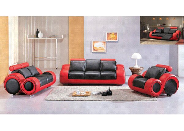 Hokku Designs Hematite 3 Piece Bonded Leather Sofa Set & Reviews