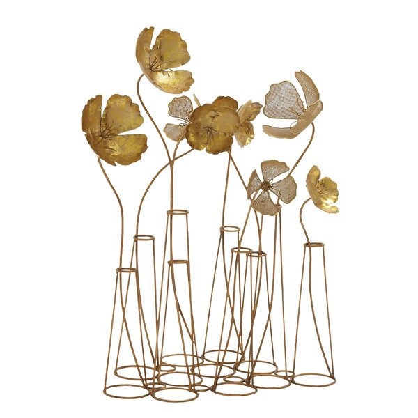 Latitude Run Gold Metal Flower Table Wall Decor & Reviews ...