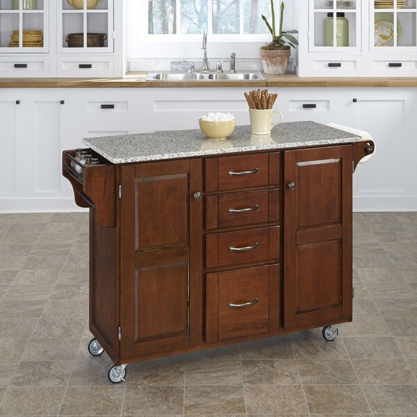 Kitchen Cabinets On Wheels: August Grove Adelle-a-Cart Kitchen Island With Granite Top