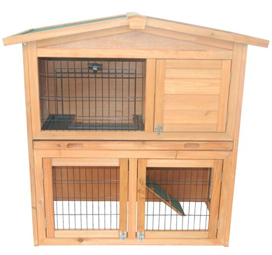 Pawhut pawhut 40 wooden rabbit hutch small animal house for Aosom llc outsunny chaise lounge