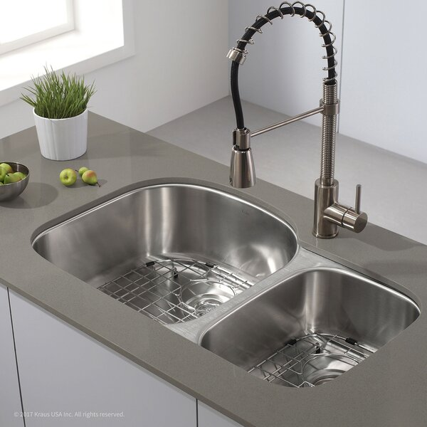 "Kraus Stainless Steel 32.38"" X 20.5"" Double Basin Undermount"