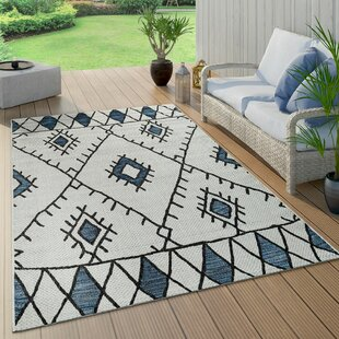 Howa Flatweave Blue/Beige Rug By World Menagerie