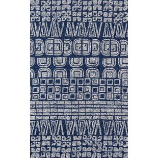 Aderdour Hand-Hooked Navy Indoor/Outdoor Area Rug By Bungalow Rose