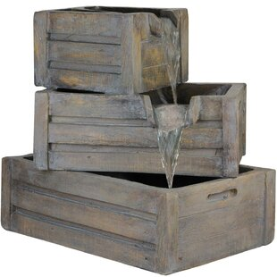 Northlight Seasonal Polystone 3 Tier Planter Boxes Outdoor Water Fountain