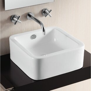 Best Reviews Ceramica II Ceramic Square Vessel Bathroom Sink with Overflow By Caracalla