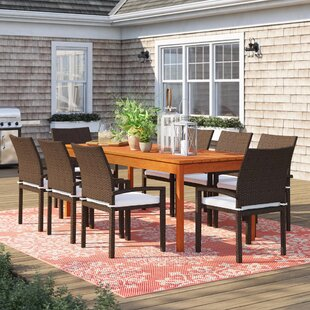 Brighton Traditional 9 Piece Wood Dining Set With Cushions